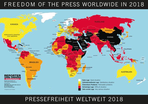 Usa Karte Ohne Staaten.Rangliste 2018 Reporter Ohne Grenzen Für Informationsfreiheit